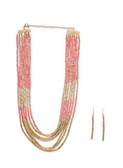 Metallic Two Tone Beaded Necklace and Earrings - 3123057697597