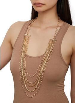 Metallic Choker and Layered Necklace Set - 3123057698085