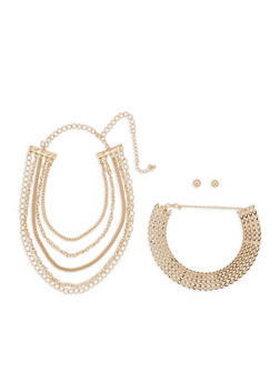 Metallic Collar Necklaces with Ball Stud Earrings - 3123057698825