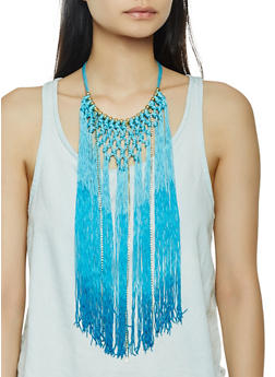 Beaded Fringe Necklace - 3123058566181