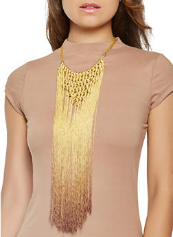Beaded Ombre Fringe Necklace - 3123058566918