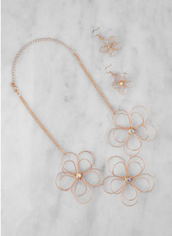 Metallic Wire Flower Necklace with Earrings - 3123059631698