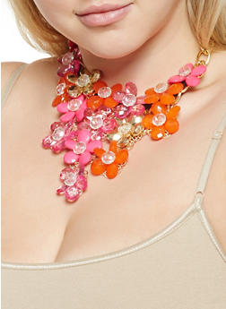 Floral Statement Necklace and Drop Earrings - 3123059635485