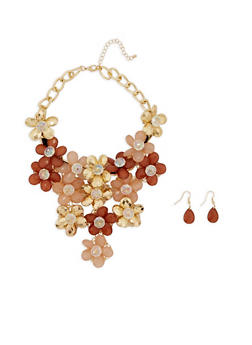 Jewel Flower Collar Necklace with Earrings - 3123059635487