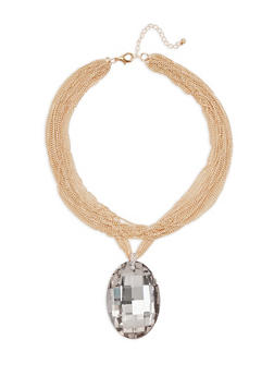 Large Charm Layered Chain Necklace - 3123059636488