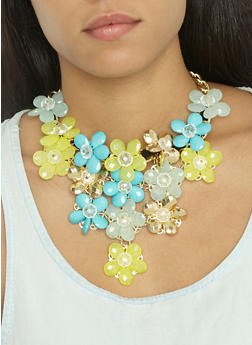 Flower Statement Necklace and Earrings Set - 3123059636524