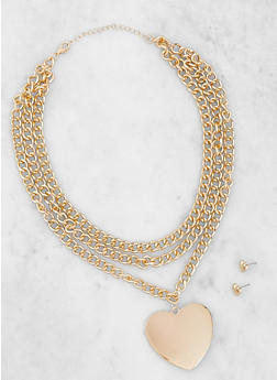 Metallic Heart Chain Necklace and Stud Earrings - 3123062813563