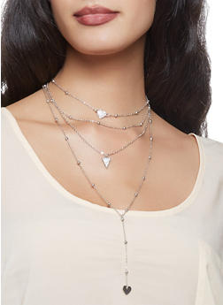 Layered Metallic Charm Necklace - 3123062815244
