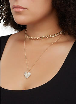 Layered Chain Choker Necklace - 3123062817835