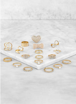 18 Assorted Rhinestone Rings - 3123062920156