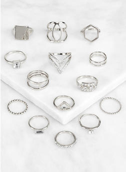 Assorted Rhinestone Metallic Rings - 3123062920505