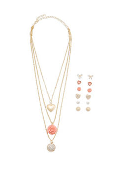 Layered Charm Necklace with Assorted Stud Earrings - 3123062920657