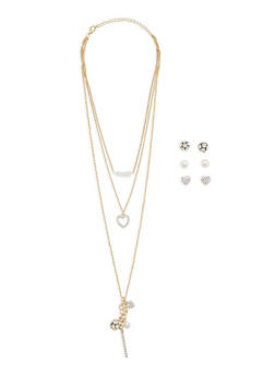 Rhinestone Charm Necklace with Stud Earrings Trio - 3123062920662
