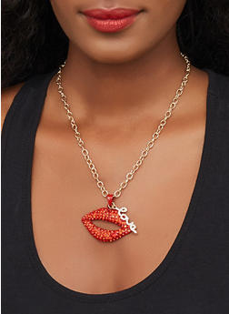 Rhinestone Lip Charm Necklace with Stud Earrings Set - 3123062920689