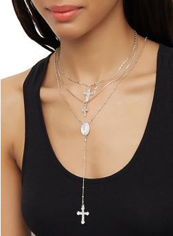 Layered Rhinestone Cross Necklace and Drop Earrings - 3123062921077