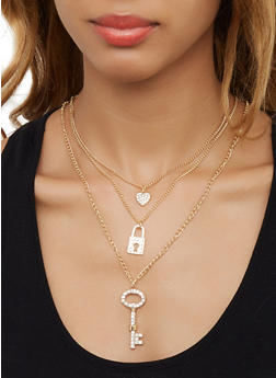 Rhinestone Lock Charm Necklace with Hoop Earrings - 3123062921237