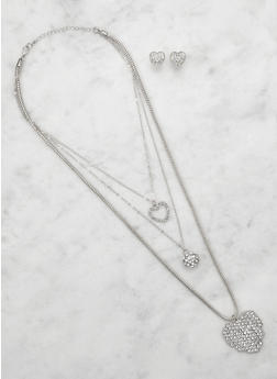 Rhinestone Heart Charm Necklace and Stud Earrings - 3123062921257