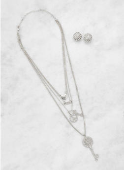 Layered Key Charm Necklace and Stud Earrings Set - 3123062921258
