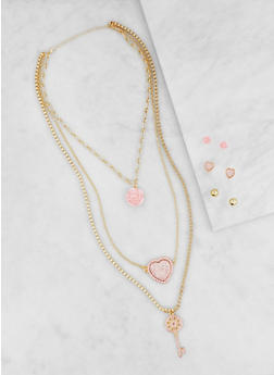 Layered Charm Necklace and Earrings Set - 3123062921268