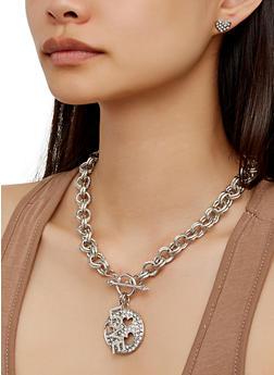 Circular Rhinestone Pendant Necklace Bracelet and Stud Earrings - 3123062921322
