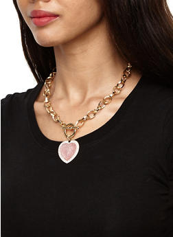 Heart Toggle Necklace and Bracelet with Earrings - 3123062921330