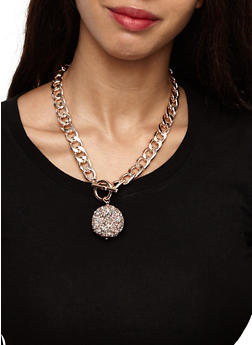 Druzy Ball Curb Chain Necklace with Bracelet and Earrings - 3123062921331