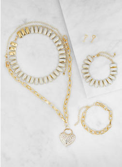 Metallic Necklaces and Bracelets with Stud Earrings - 3123062921530