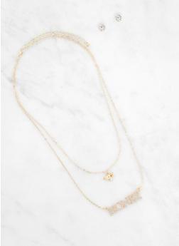 Honey Necklace with Rhinestone Stud Earrings - 3123062921671
