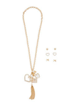 Rhinestone Charm Necklace with Stud Earrings - 3123062921677