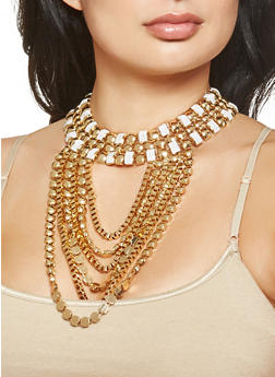 Multi Chain Glitter Necklace with Earrings Set - 3123062922259