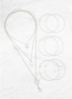 Layered Charm Necklace with Hoop Earrings Trio - 3123062922337