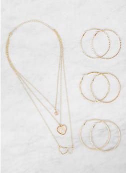 Layered Charm Necklace with Hoop Earrings Set - 3123062922338