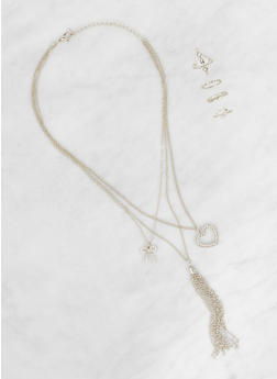 Layered Charm Necklace with Rings - 3123062922570