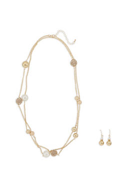 Faux Pearl Rhinestone Necklace and Earrings - 3123062922576