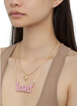 Loved Glitter Necklace Set and Stud Earrings - 3123062922851