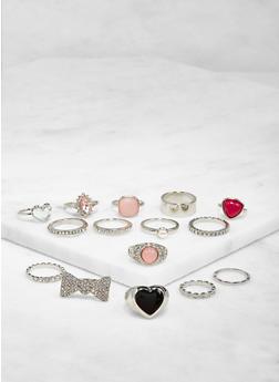 Assorted Metallic Rings Set - 3123062923048