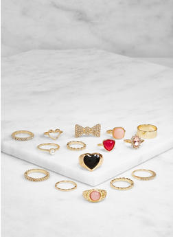 Assorted Metallic Rings Set - 3123062923048