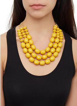 Large Bead Layered Necklace and Earrings - 3123062924083