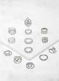 Set of 18 Metallic and Glitter Rings - 3123062924156