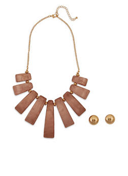Curved Bead Necklace and Button Earrings - 3123062924164