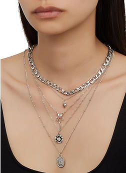 Mixed Chain Charm Necklace and Stud Earrings - 3123062924308
