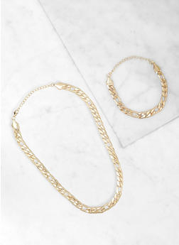 Chain Necklace and Bracelet Set - 3123062924948