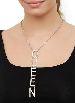 Queen Drop Chain Necklace with Stud Earrings - 3123062925255