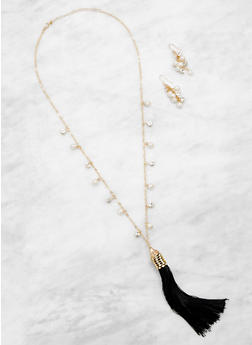 Faux Pearl Tassel Necklace and Earrings Set - 3123062925681