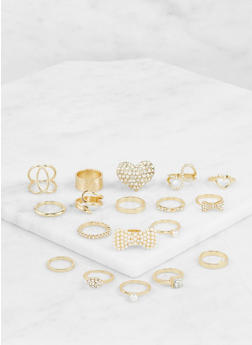 Assorted Faux Pearl Metallic Rings Set - 3123062926510