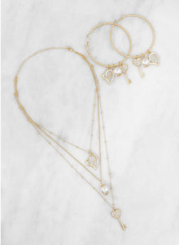 Layered Charm Necklace with Hoop Earrings Set - 3123062926562