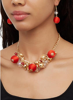 Beaded Fabric Necklace with Drop Earrings - 3123062926583
