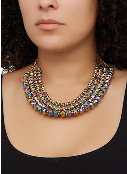 Multi Row Glass Bead Collar Necklace and Drop Earrings - 3123062926880