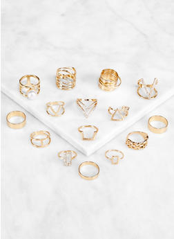 Set of 15 Rhinestone Metallic Rings - 3123062927048