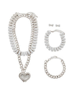 Glitter Chain Necklaces with Bracelets and Stud Earrings - 3123062927161
